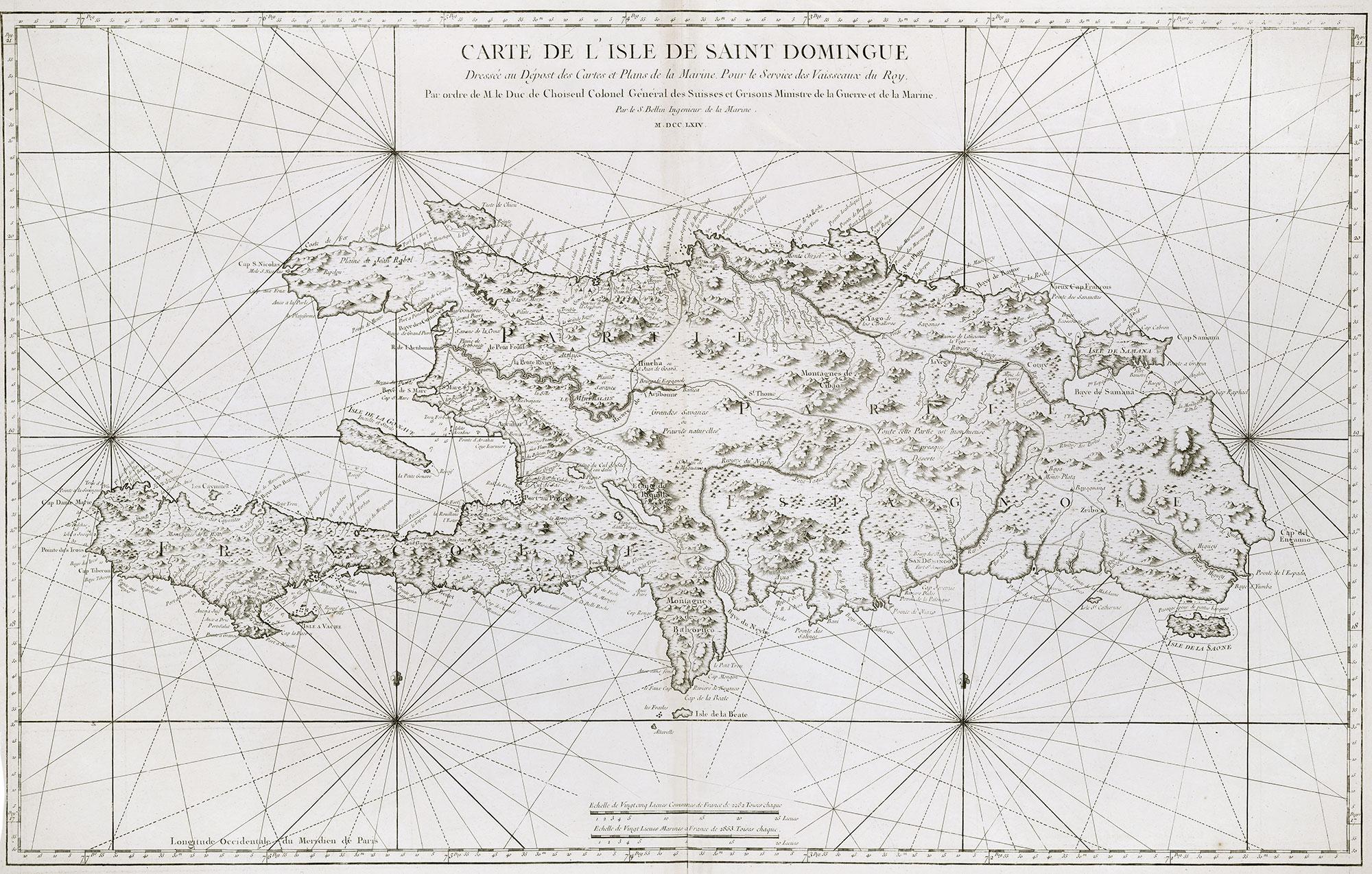 Carte de l'Isle de Saint Domingue, dréssée au dépot de cartes et plans de la marine, pour le service des vaisseaux du roy
