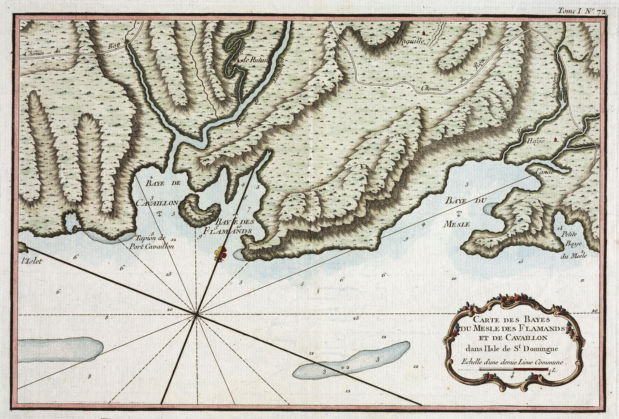 Carte des bayes du Mesle, des Flamands, et de Cavaillon dans l'isle de saint Domingue