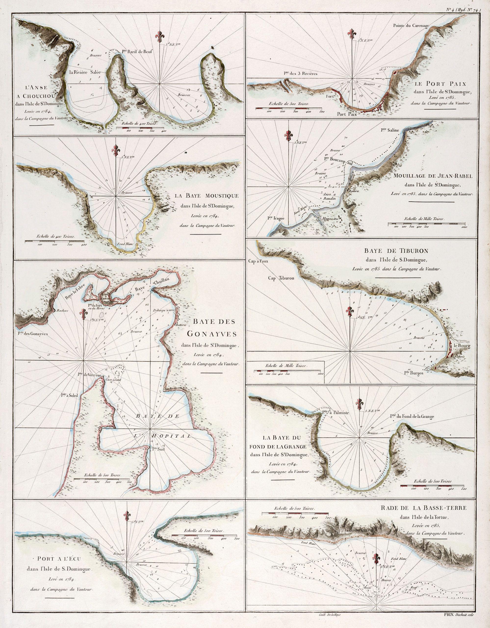 Baye des Gonayves, Port a l'Ecu de la Basse-Terre, La Baye du Fond de de la Grange, Baye de Tiburon, Mouillage de Jean Rabel, Le Port de Paix, L'anse a Couchou, La Baye Moustique
