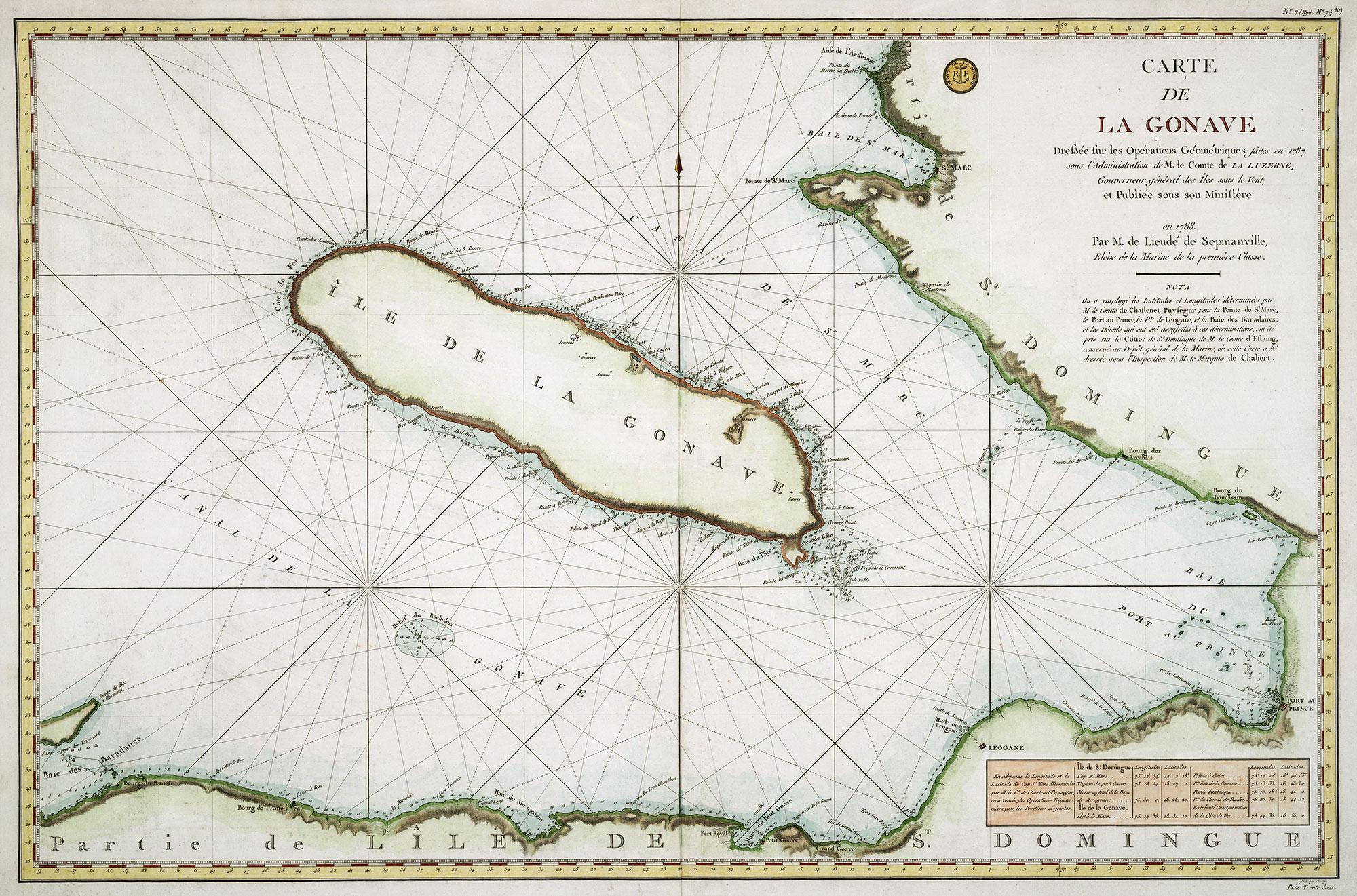 Carte de la Gonave dréssée pour les opérations géométriques en 1788