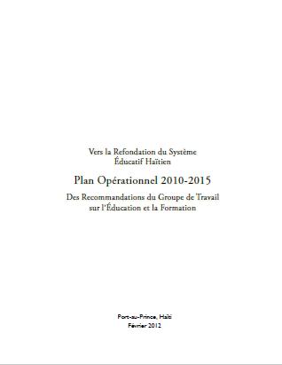 Read more about the article Vers la Refondation du Système Éducatif Haïtien Plan Opérationnel 2010-2015 (GTEF)