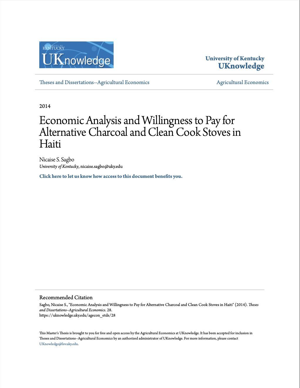 Read more about the article Economic Analysis and Willingness to Pay for Alternative Charcoal and Clean Cook Stoves in Haiti