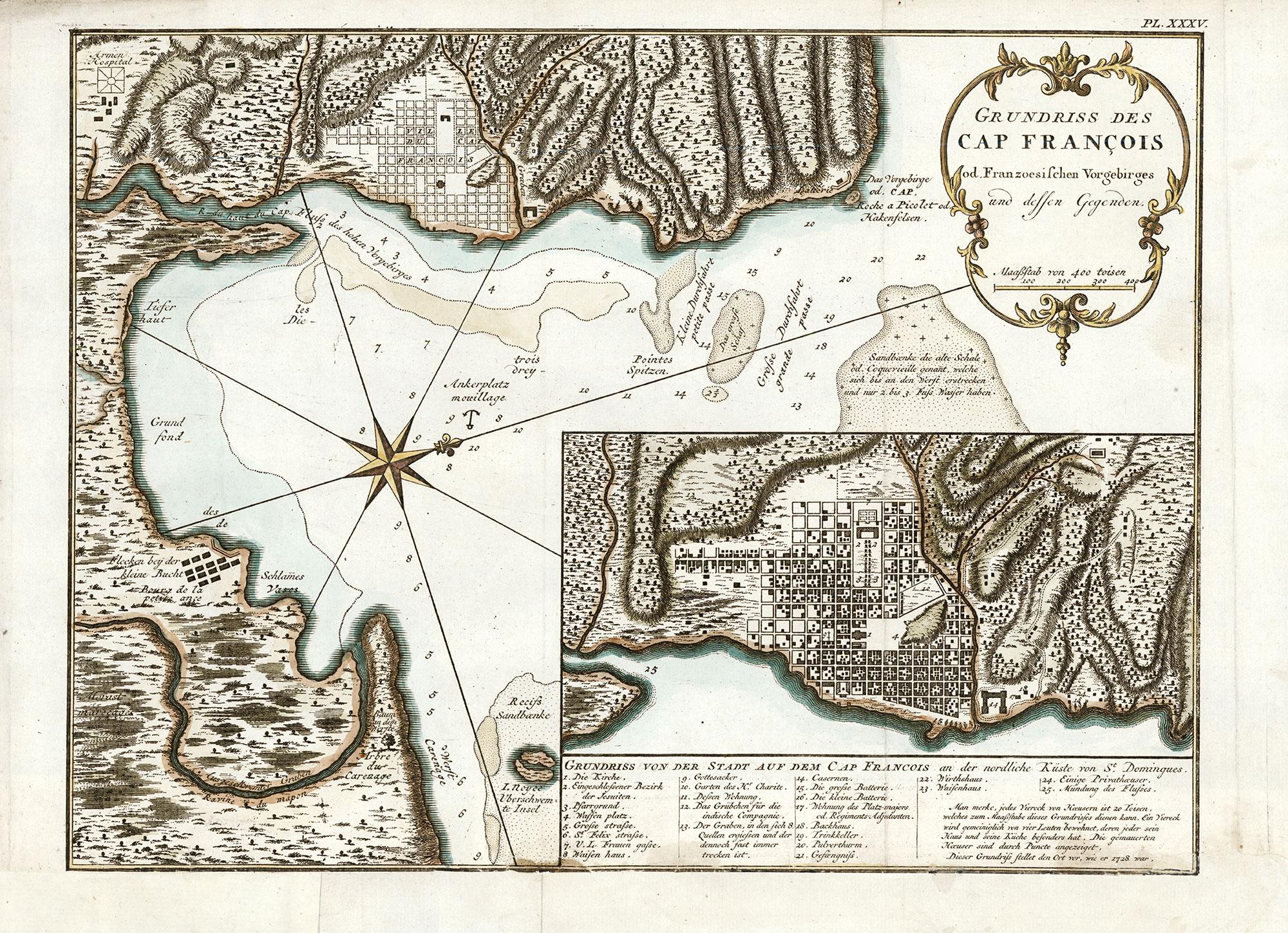 Grundriss des cap francois od. franzoesishen vorgebirges und dressen gegenden (plan du cap françois et de ses environs)