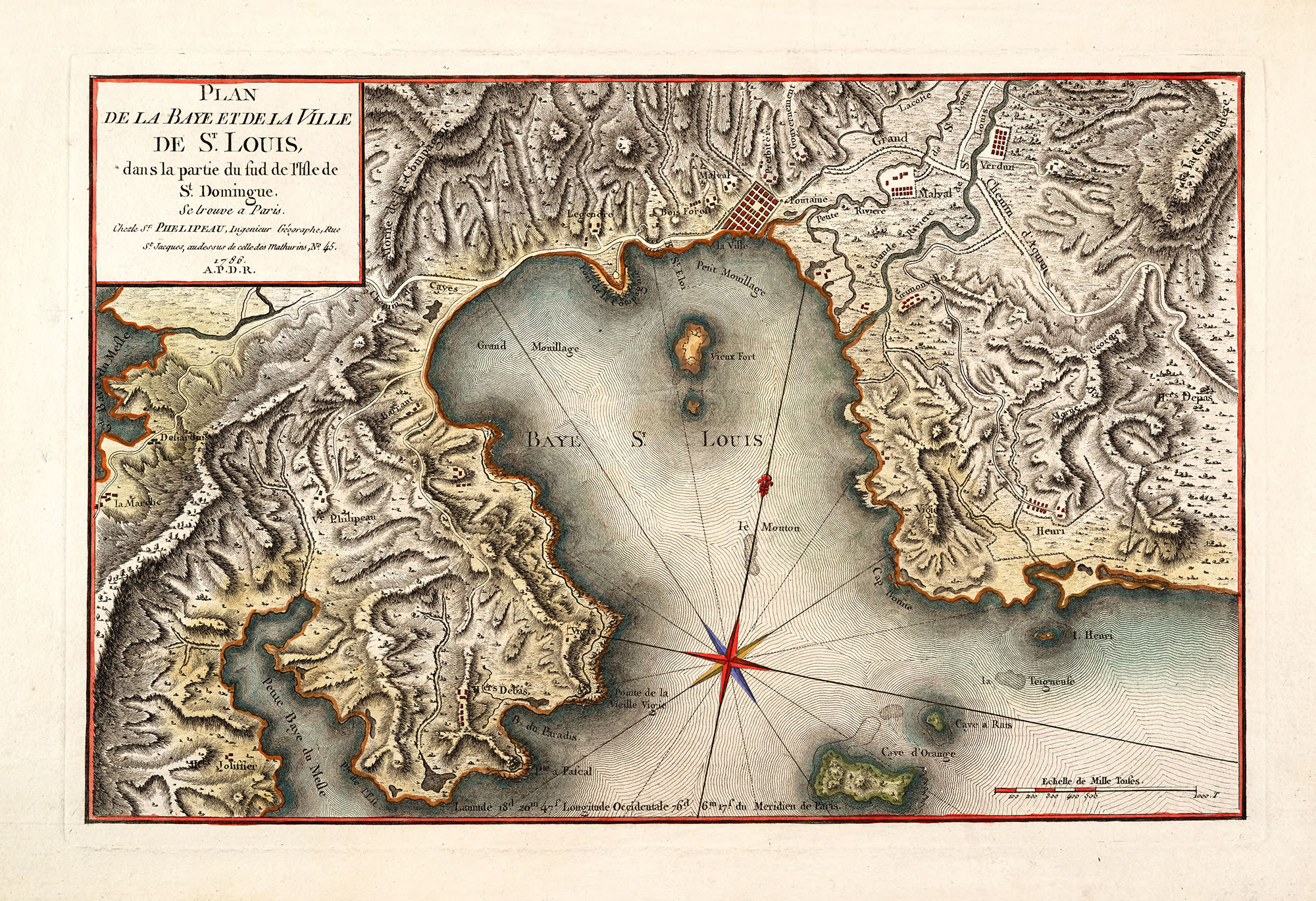 Plan de la baye et dela ville de St. Louis dans la partie du sud de l'isle de St. Domingue