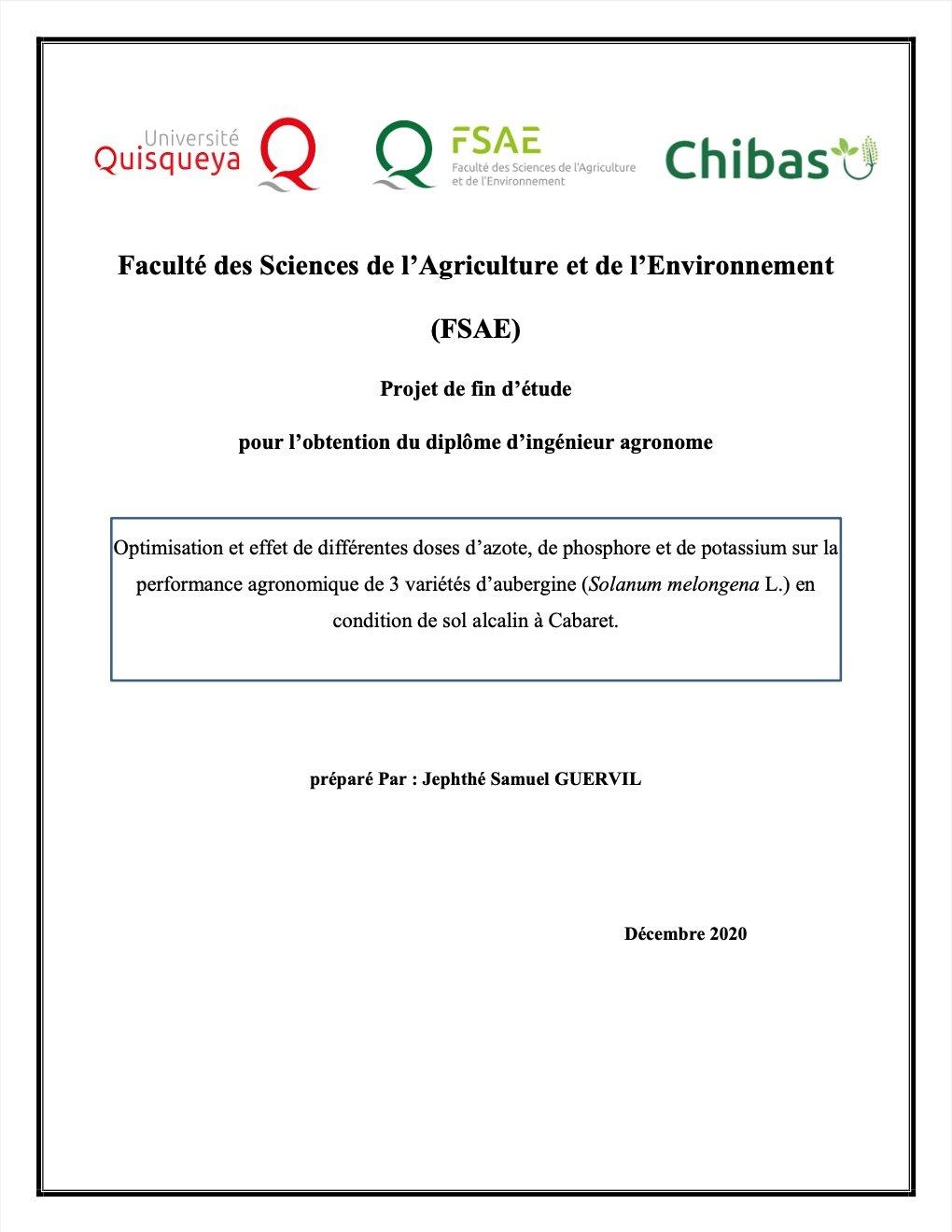Read more about the article Optimisation et effet de différentes doses d'azote, de phosphore et de potassium sur la performance agronomique de 3 variétés d'aubergine (Solanum melongena L.) en condition de sol alcalin à Cabaret
