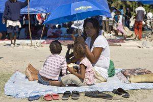 Haitians Seek Refuge from Sun After Violent Earthquake