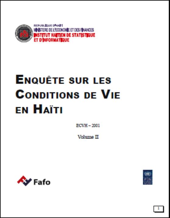 Read more about the article ENQUÊTE SUR LES CONDITIONS DE VIE EN HAÏTI (ECVH Volume II)