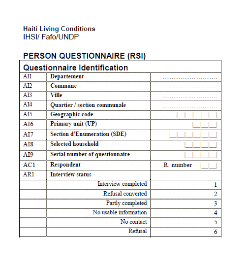 Read more about the article Haiti Living Conditions Survey Questionnaire