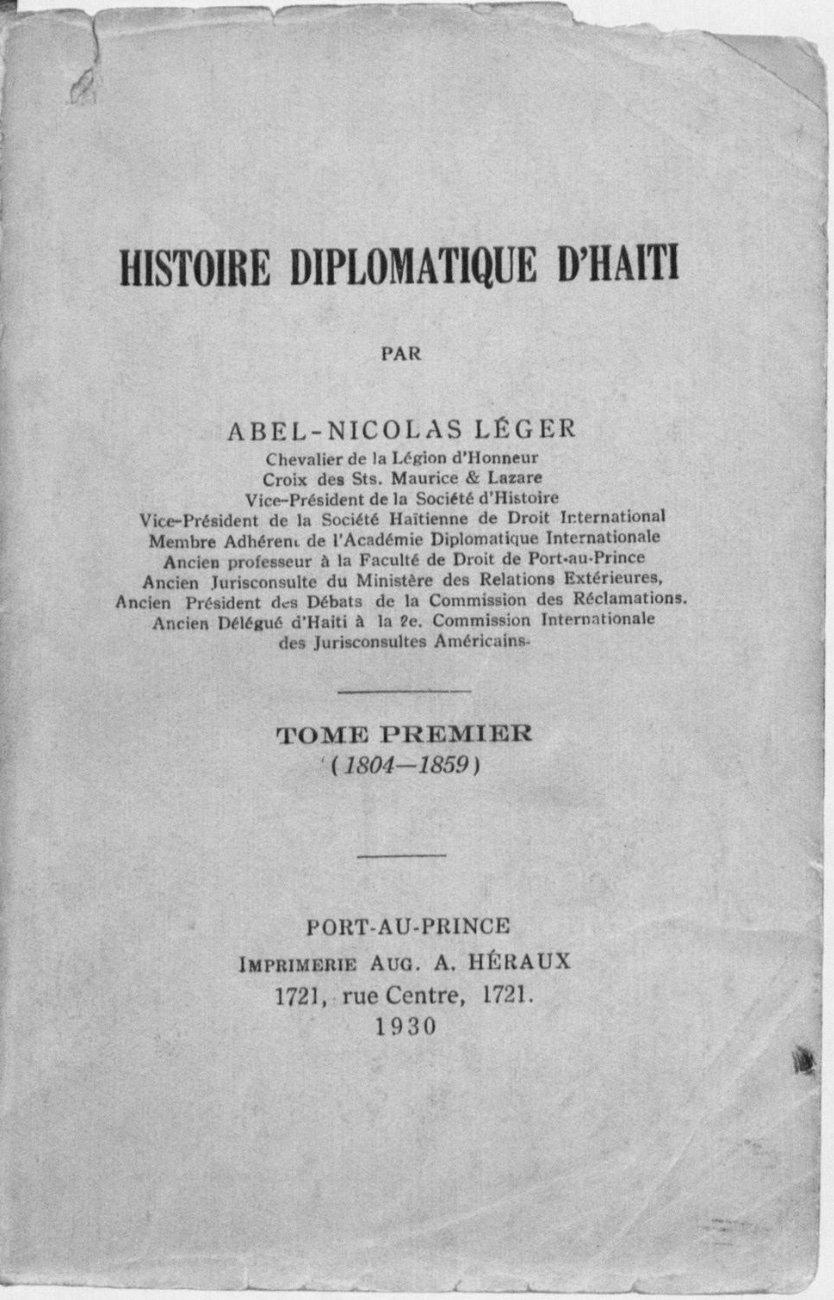 Read more about the article Histoire Diplomatique d'Haiti. Tome Premier