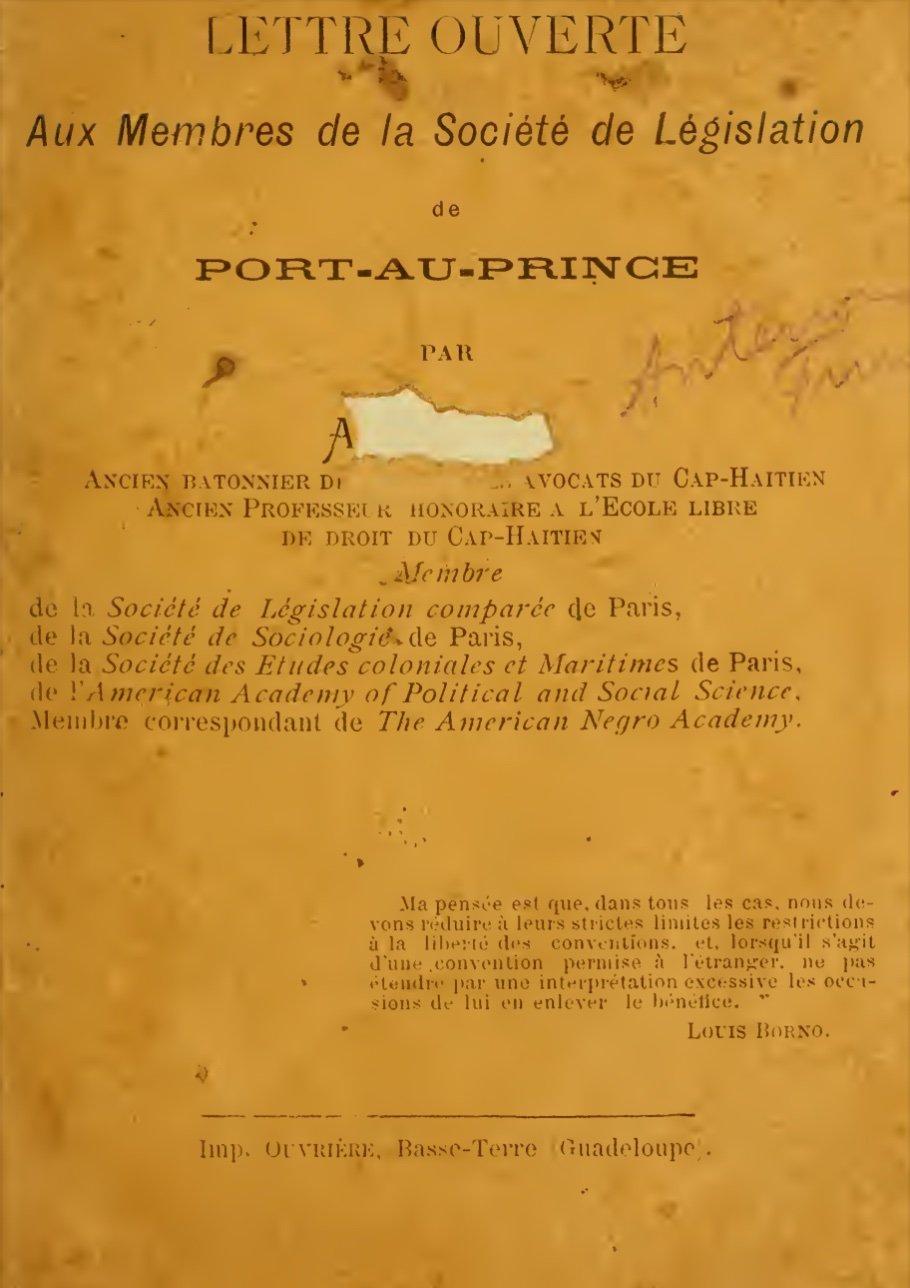 Read more about the article Lettre Ouverte Aux Membres de la Société de Législation de Port au Prince