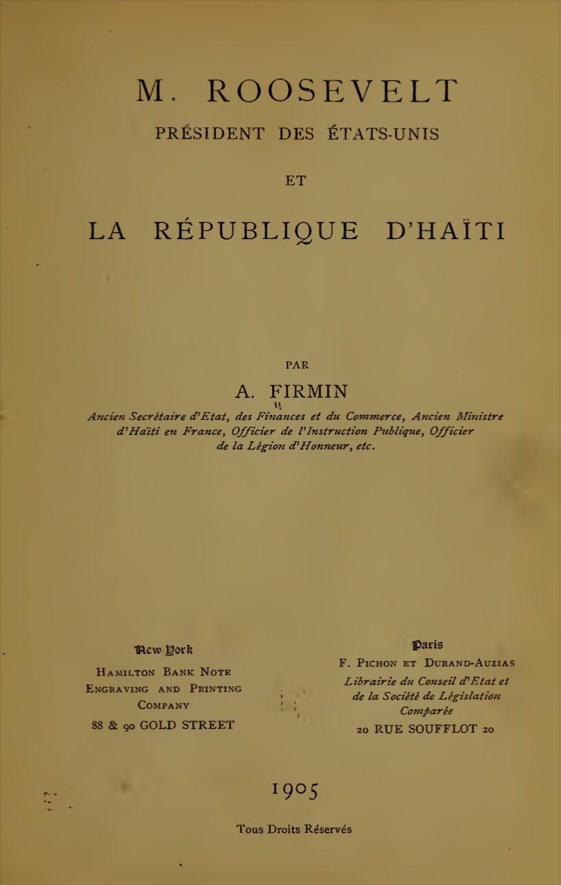 Read more about the article M. ROOSVELT Président des États-Unis et La République d'Haiti.