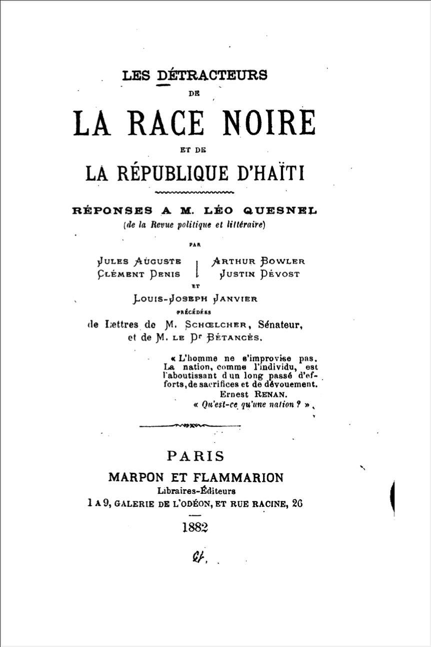 Read more about the article Les Détracteurs de la Race Noire et de la République d'Haiti.