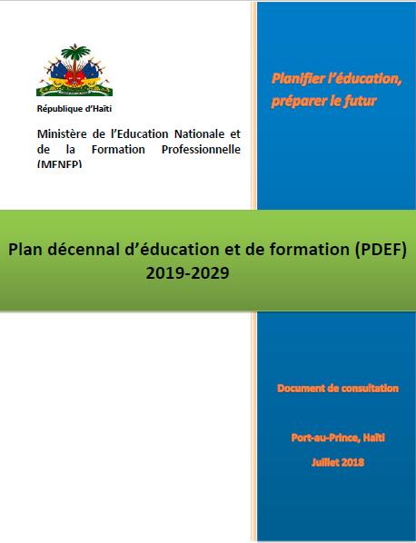 Read more about the article Plan décennal d'éducation et de formation (PDEF)2019-2029 (2018)