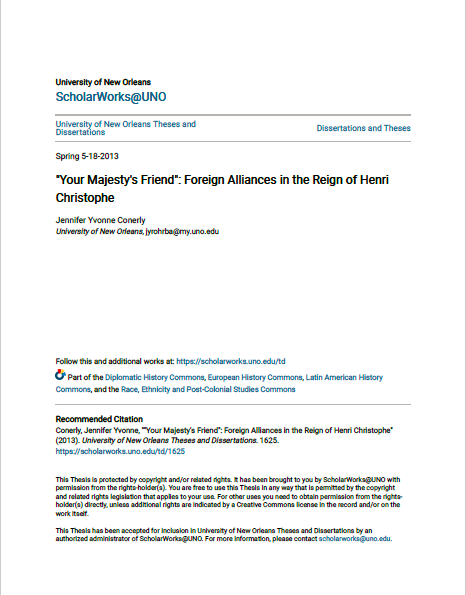 """Read more about the article """"Your Majesty's Friend"""": Foreign Alliances in the Reign of Henri Christophe (2013)"""