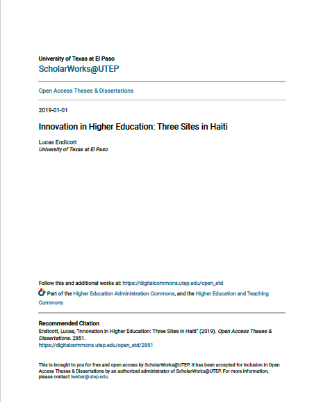 Read more about the article Innovation in Higher Education: Three Sites in Haiti (2019)